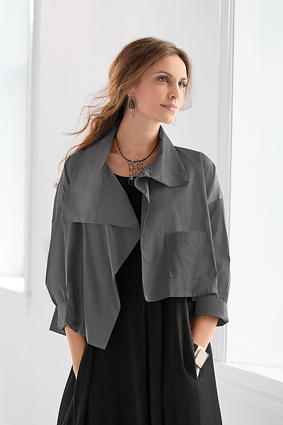 Nylon Cropped Asymmetrical Jacket
