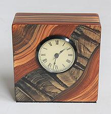 River Tiger Table Clock by Ingela Noren and Daniel  Grant (Wood Clock)