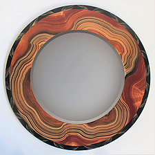Burl Vine Round Mirror by Ingela Noren and Daniel  Grant (Wood Mirror)
