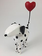 Dogs with Heart Balloons by Hilary Pfeifer (Wood Sculpture)