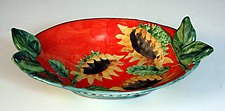 Oval Bowl with Leaves and Sunflowers by Peggy Crago (Ceramic Bowl)