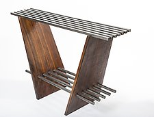 Locksaw Console Table by Wes Walsworth (Wood & Steel Console Table)