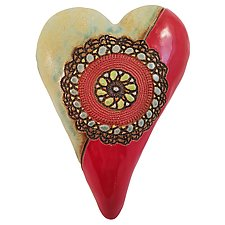 Red Cirque Medallion by Laurie Pollpeter Eskenazi (Ceramic Wall Sculpture)
