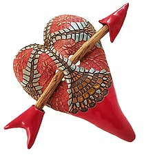 Victoria's Red Fan by Laurie Pollpeter Eskenazi (Ceramic Wall Sculpture)