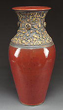 Red Marbled Elliptical Vessel by Daniel  Bennett (Ceramic Vessel)