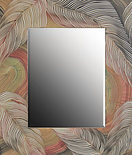 Tan Sage Leaf Mirror by Ingela Noren and Daniel  Grant (Wood Mirror)