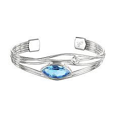 Silver and Blue Topaz Edge Bracelet by Suzanne Q Evon (Silver & Stone Bracelet)