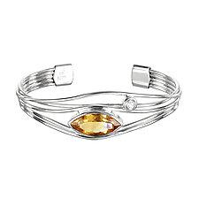 Silver and Citrine Edge Bracelet by Suzanne Q Evon (Silver & Stone Bracelet)