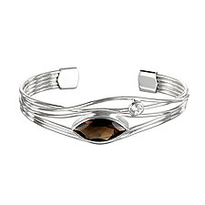 Silver and Smoky Quartz Edge Bracelet by Suzanne Q Evon (Silver & Stone Bracelet)