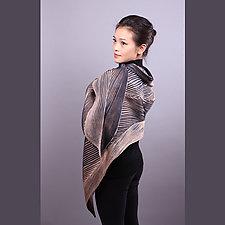 Shibori Shawl in Black and Beige by Min Chiu  and Sharon Wang  (Silk Scarf)