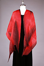 Shibori Shawl in Red and Black by Min Chiu  and Sharon Wang  (Silk Scarf)