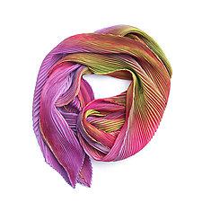Shibori Shawl in Rose Pink and Green by Min Chiu and Sharon Wang (Silk Scarf)