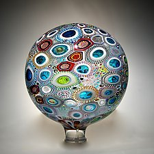 Mixed Murrini Sphere by David Patchen (Art Glass Sculpture)