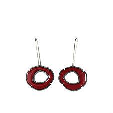 Small Single Enamel Rough Cut Earrings by Lisa Crowder (Enameled Earrings)