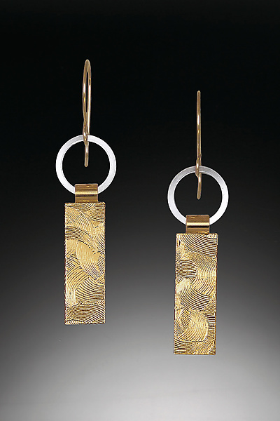 Silver and Gold Tab Earrings