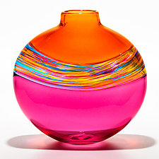 Transparent Flat Banded Vortex Vase in Salmon, Florida, and Cranberry by Michael Trimpol and Monique LaJeunesse (Art Glass Vase)