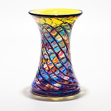 Optic Rib Cooling Tower Vase in Boca with Topaz by Michael Trimpol and Monique LaJeunesse (Art Glass Vase)
