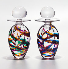 Tall Egg Helix Bottles by Michael Trimpol and Monique LaJeunesse (Art Glass Perfume Bottle)