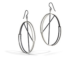Boxed Ovals Earring by Hilary Hachey (Silver Earrings)