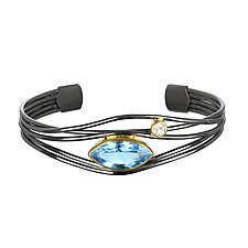 Black and Gold Blue Topaz Edge Bracelet by Suzanne Q Evon (Silver & Stone Bracelet)