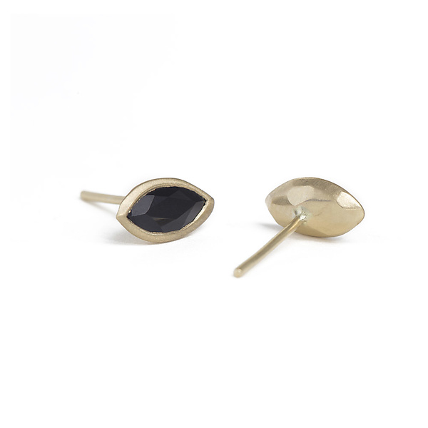 14K Gold and Onyx Marquis Studs