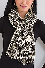 Black and White Mosaic Shawl by Muffy Young  (Silk Scarf)