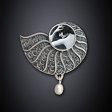 Nautilus Pin by Dawn Estrin (Silver Pin)