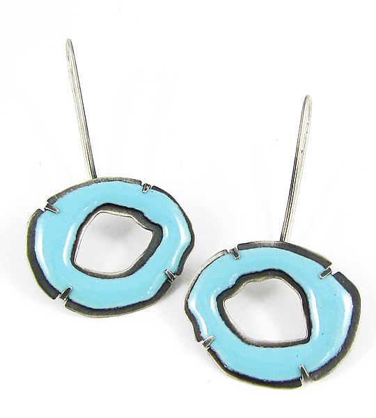 Small Single Rough Cut Enamel Earrings