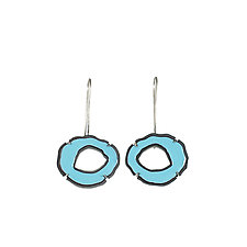 Small Single Rough Cut Enamel Earrings by Lisa Crowder (Enameled Earrings)