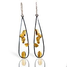 Long Black and Gold Open Desert Rose Earrings by Lori Gottlieb (Gold & Silver Earrings)