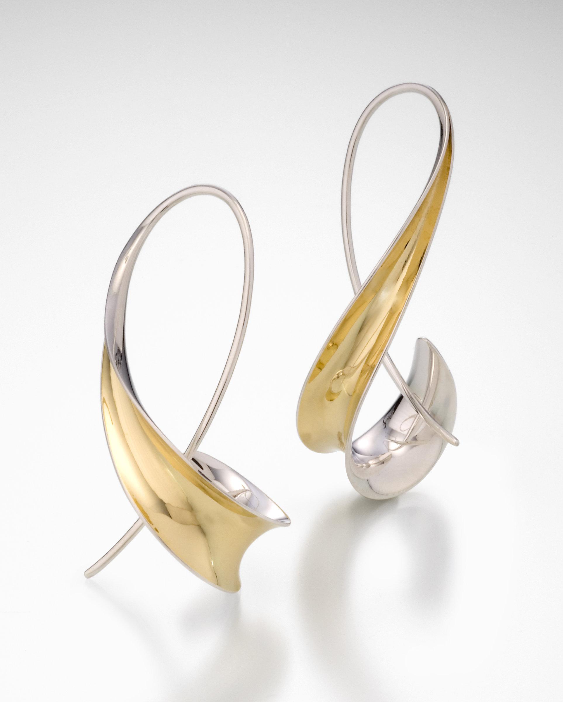 Long Hook Earrings By Nancy Linkin Silver Gold Artful Home