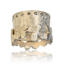Silver Flower Puzzle Ring with Diamond Band by Rebecca  Myers (Silver & Stone Ring)