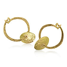 Single Pebble Hoop Earrings by Rona Fisher (Gold Earrings)