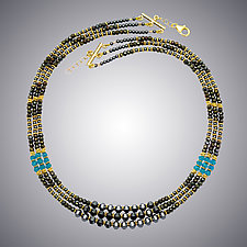 Hematite, Pyrite and London Blue Quartz Necklace by Judy Bliss (Gold & Stone Necklace)