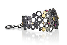 Deconstructed Deco Cuff by Shauna Burke (Gold, Silver & Stone Bracelet)