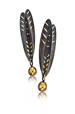 Feather Leaf Earrings by Christine Mackellar (Gold, Silver & Pearl Earrings)