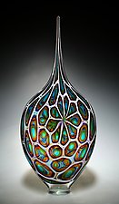 Aqua, Gold, and Amethyst Resistenza by David Patchen (Art Glass Sculpture)