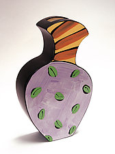 Purple, Yellow, and Red Vase by Diana Crain (Ceramic Wall Sculpture)