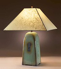 Celadon Lamp with Lokta Shade by Jim Webb (Ceramic Lamp)