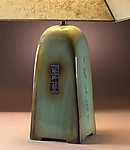 Celadon Lamp with Natural Lokta Shade by Jim Webb (Ceramic Lamp)