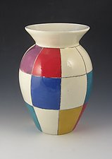 Bold Checks Vase by Lisa Scroggins (Ceramic Vase)