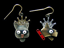 Reigning Cats & Dogs Earrings by Lisa and Scott  Cylinder (Metal Earrings)