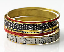 Black, Red & White Bangle Set by Louise Fischer Cozzi (Polymer Clay Bracelet)