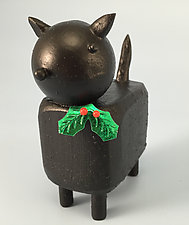 Christmas Kitty by Hilary Pfeifer (Wood Sculpture)