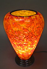 Rose and Yellow Table Lamp by Curt Brock (Art Glass Table Lamp)