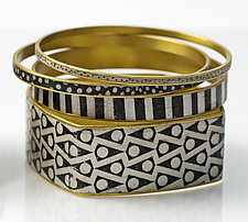 Black & White Bangle Set by Louise Fischer Cozzi (Polymer Clay Bracelet)