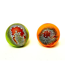 Granny Apple Green and Mandarin Orange Elemental Spheres by David Royce (Art Glass Paperweight)