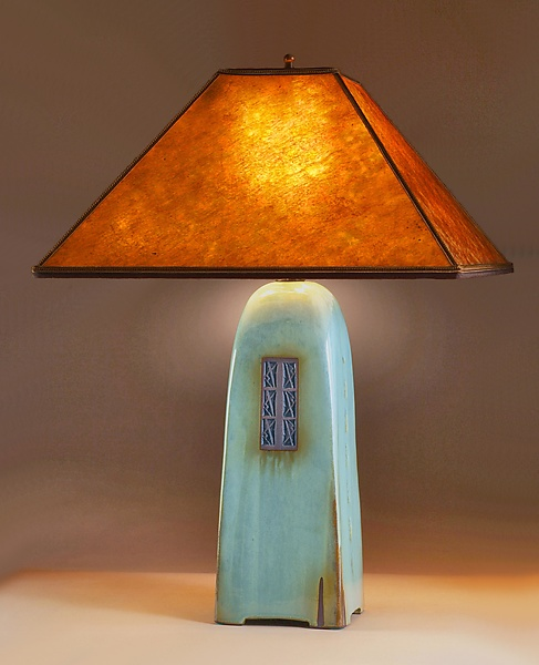 Celadon Lamp with Amber Mica Shade