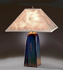 North Union Lamp in Onyx Glaze with Silver Mica Shade by Jim Webb (Ceramic Lamp)