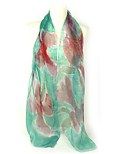 Mini Floral Organza Scarf in Turquoise Sweet Pea by Yuh Okano (Silk Scarf)